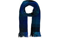 Barneys New York Men's Ombre Plaid Chenille Scarf Turquoise