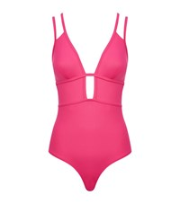 Lazul Plunge Cut Out Solid Swimsuit Female Pink