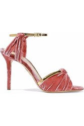 Charlotte Olympia Metallic Leather Trimmed Knotted Crushed Velvet Sandals Blush