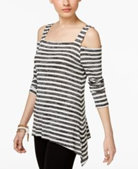 Inc International Concepts Striped Cold Shoulder Top Only At Macy's Black And White Stripe