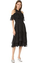 Rebecca Taylor Open Shoulder Metallic Dot Dress Black