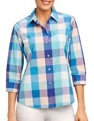 Foxcroft Plus Mi Amor Matador Checked Button Down Shirt Ruby Red