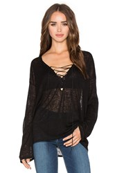 Beautiful People V Neck Lace Up Top Black