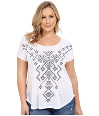 Roper Plus Size 0231 Poly Slub Jersey Top White Women's Short Sleeve Pullover