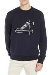 French Connection Sneaker Embroidered Sweatshirt Utility Blue Cuba White