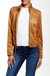 Rachel By Rachel Roy Fringe Vegan Suede Jacket Brown