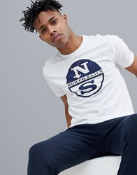 North Sails Slim Fit Large Logo T Shirt In White