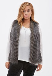 Forever 21 Plus Size Faux Fur Vest Grey Black