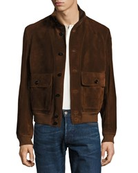 Tom Ford Suede Button Front Blouson Jacket Red Rust