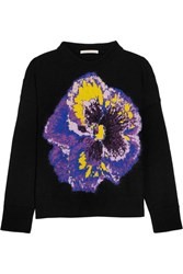 Christopher Kane Intarsia Wool Blend Sweater Black