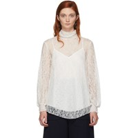 See By Chloe Off White Lace High Neck Blouse