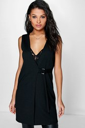 Phoebe Belted Cross Front Sleeveless Duster