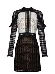 Self Portrait Geometric Guipure Lace Mini Dress Black White