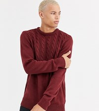 Another Influence Half Cable Jumper In Burgundy Red