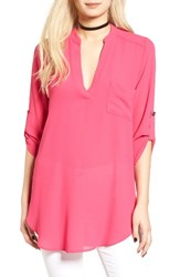 Lush Women's 'Perfect' Roll Tab Sleeve Tunic Pink Peacock