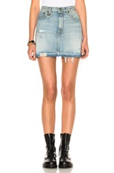 R 13 R13 For Fwrd Exclusive High Rise Destroyed Mini Skirt In Blue