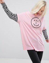Lazy Oaf Oversized Long Sleeve Layer T Shirt With Not Your Friend Detail Pink