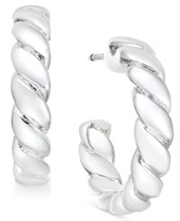 Charter Club Silver Tone Twisted Rope Hoop Earrings Only At Macy's