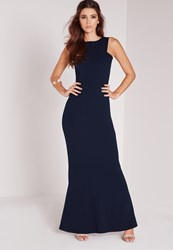 Missguided Low Back Maxi Dress Navy Blue