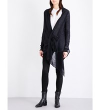 Isabel Benenato Draped Mohair And Silk Blend Cardigan Black