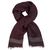 John Lewis Lightweight Wool Blend Jaquard Scarf Red