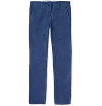 Hardy Amies Slim Fit Brushed Woven Cotton Trousers Blue