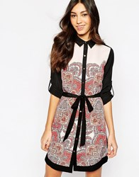Oasis Paisley Shirt Dress Multiblack