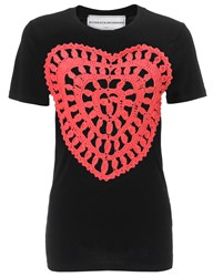 Michaela Buerger Red Crochet Golden Heart T Shirt Black