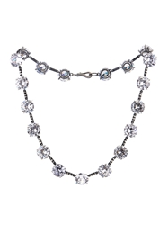 Bottega Veneta Oxidised Silver Crystal Necklace