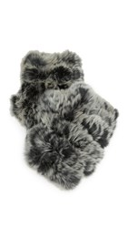 Jocelyn Fingerless Fur Mittens Black Quiet Shade
