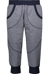 Adidas By Stella Mccartney Cropped Cotton Blend Track Pants Gray