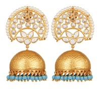 Carousel Jewels Crystal And Turquoise Chandelier Statement Earrings Blue Gold