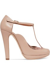 Malone Souliers Linda Snake Trimmed Leather Mary Jane Pumps Antique Rose Neutral