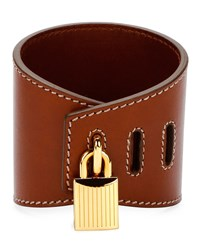 Tom Ford Large Lock Leather Cuff Bracelet Brown