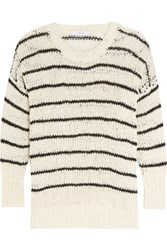 Iro Odessa Striped Open Knit Cotton Blend Sweater Ecru