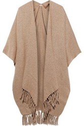 Brunello Cucinelli Woman Fringe Trimmed Metallic Brushed Knitted Wrap Sand