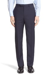 Men's Z Zegna Flat Front Check Wool Trousers Navy