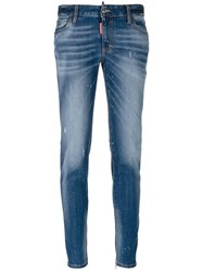 Dsquared2 Medium Waisted Twiggy Jeans Women Cotton Calf Leather Polyester Spandex Elastane 36 Blue
