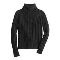 J.Crew Cambridge Cable Chunky Turtleneck Sweater Black