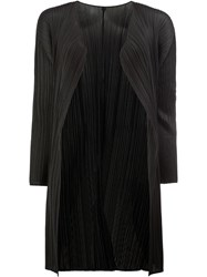Issey Miyake Pleats Please By Pleated Open Midi Coat Black