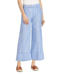 Ralph Lauren Linen Wide Leg Crop Pants 100 Exclusive Blue White