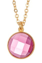 Melinda Maria Hunter Pink Tourmaline Pendant Necklace Metallic