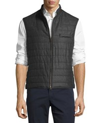 Luciano Barbera Wool Quilted Chanel Vest Gray