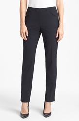 Lafayette 148 New York Side Zip Stretch Wool Pants Black