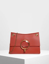Charles And Keith Lucite Buckle Clutch Orange