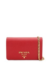 Prada Saffiano Leather Shoulder Bag Red