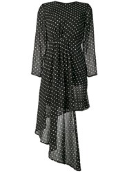 Jovonna Asymmetric Polka Dot Dress Black