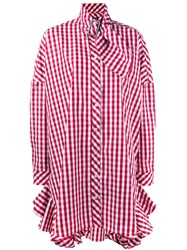 House Of Holland Gingham Shirt Dress Women Cotton Polyester 6 Red