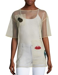 Necessary Objects Patch Accented Mesh Tee Cream