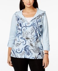 Styleandco. Style And Co. Plus Size Printed Hoodie Only At Macy's Blue Heath
